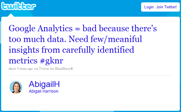 Abigail tweet referring to Google Analytics being bad
