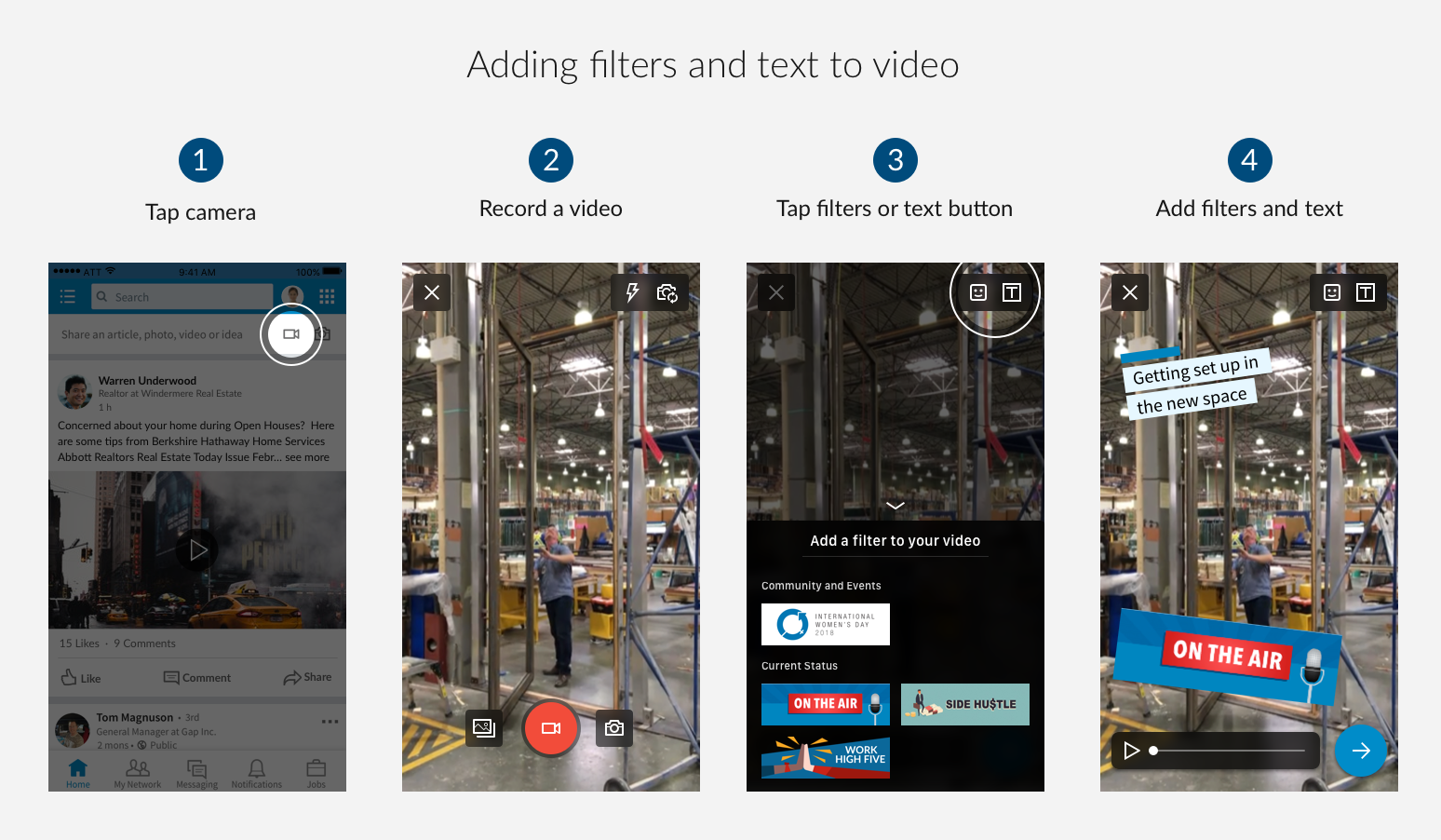 How to add filters to LinkedIn video