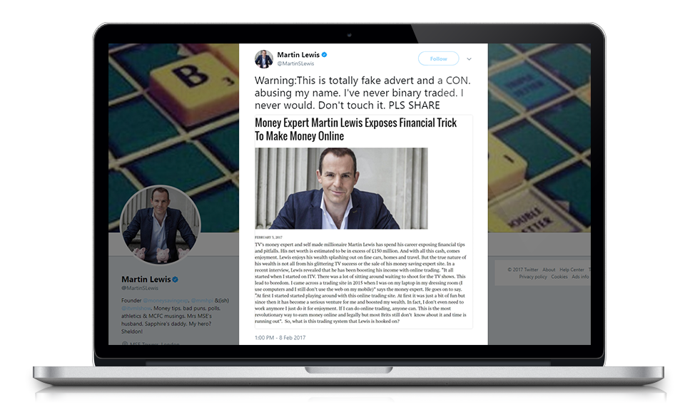 Martin Lewis tweets condemning binary trading and fake adverts
