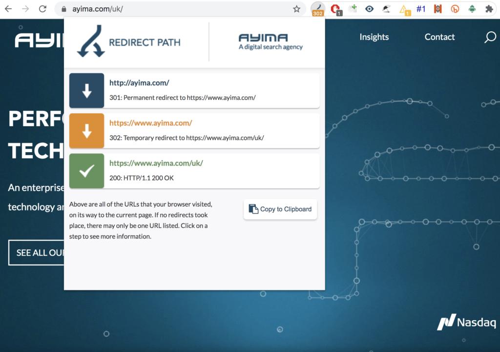 ayima redirect path showing redirect chain
