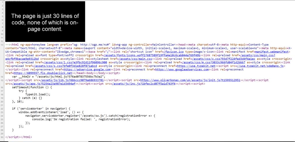 Oliverbonas.com's source code contains no content