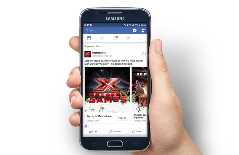 Samsung device showing Facebook Carousel