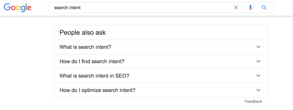 search intent Google search