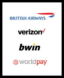 Logos for British Airways, Verizon, Bwin and Worldpay